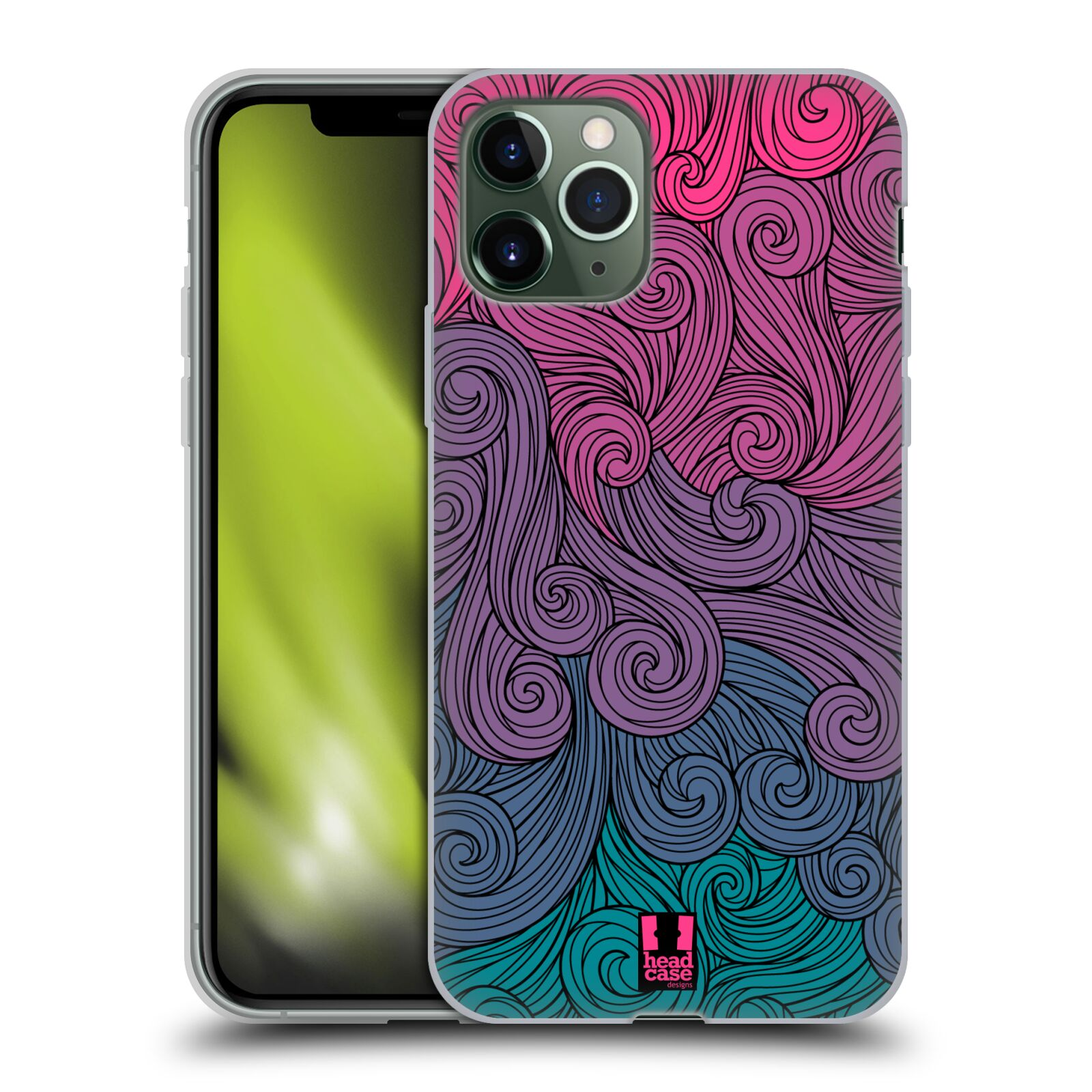 oprava iphone displej - Silikonové pouzdro na mobil Apple iPhone 11 Pro - Head Case - Swirls Hot Pink