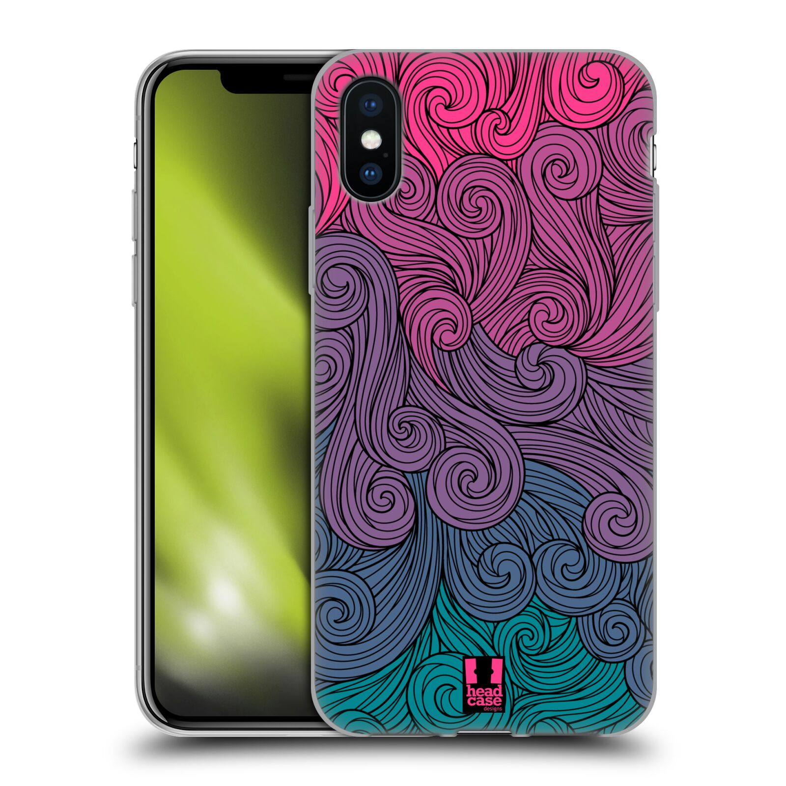 Silikonové pouzdro na mobil Apple iPhone XS - Head Case - Swirls Hot Pink