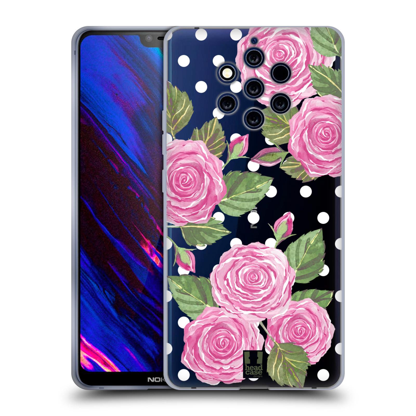 Silikonové pouzdro na mobil Nokia 9 PureView - Head Case - Hezoučké růžičky - průhledné
