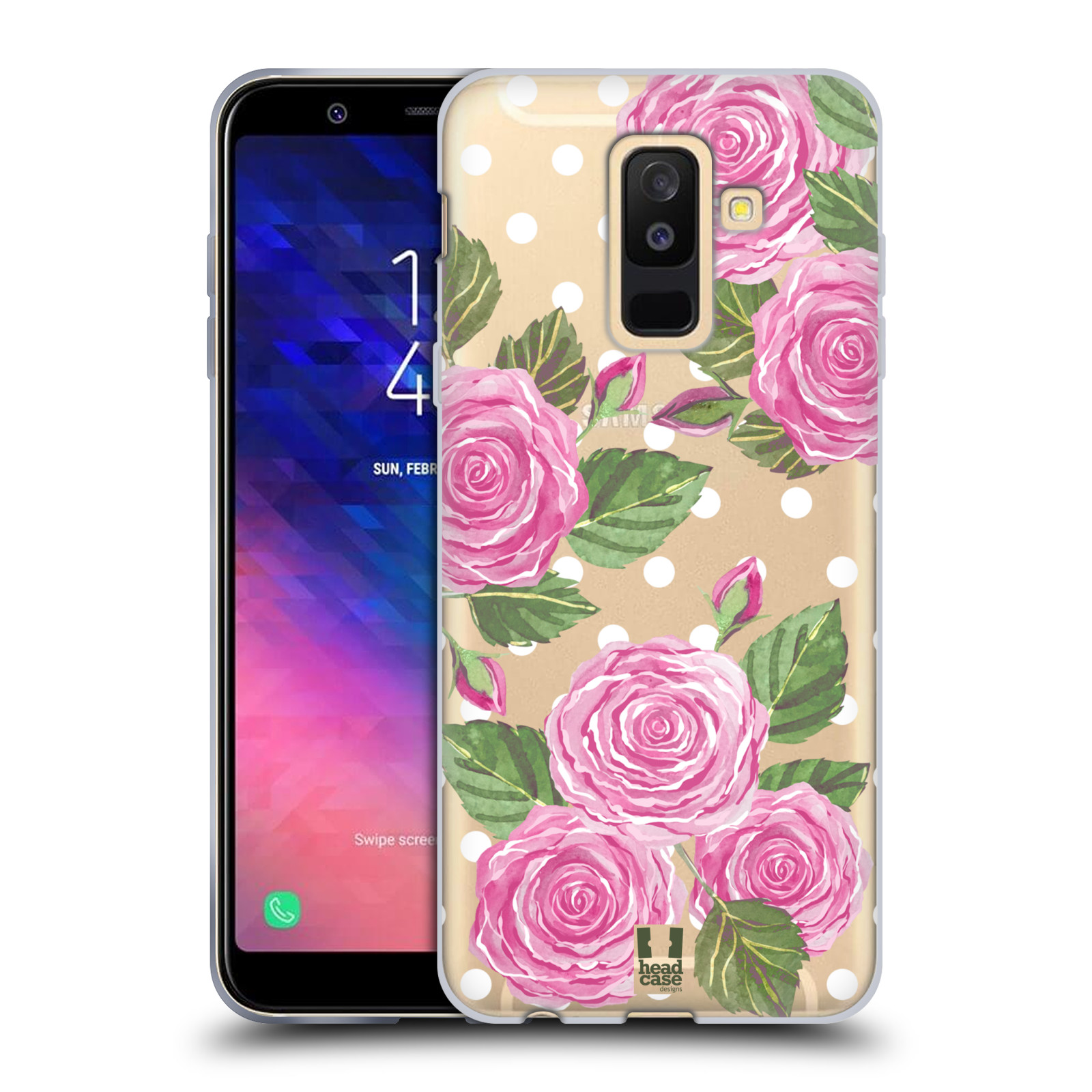 Silikonové pouzdro na mobil Samsung Galaxy A6 Plus (2018) - Head Case - Hezoučké růžičky - průhledné