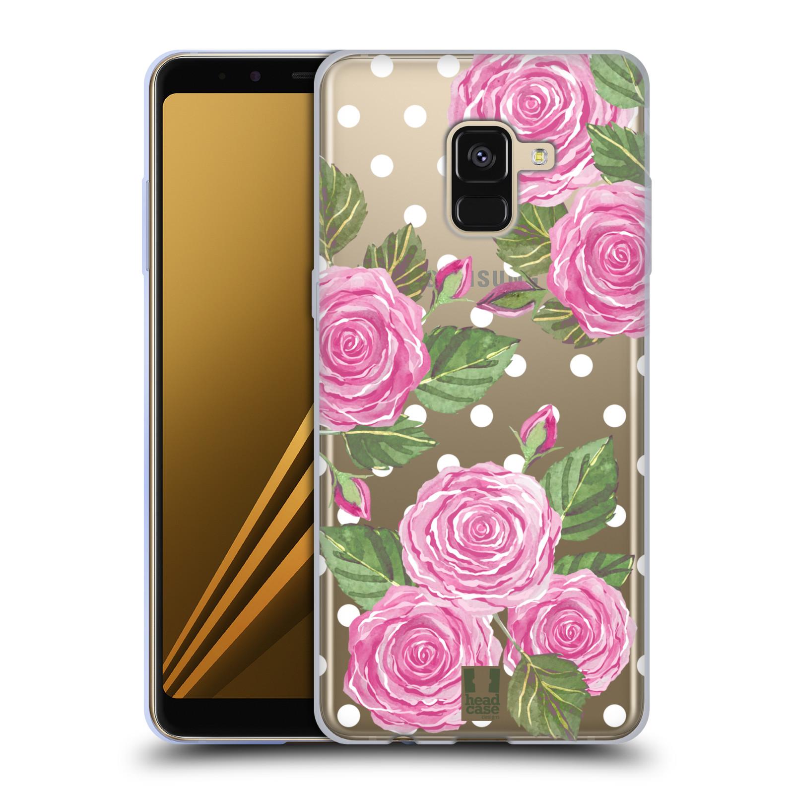 Silikonové pouzdro na mobil Samsung Galaxy A8 (2018) - Head Case - Hezoučké růžičky - průhledné