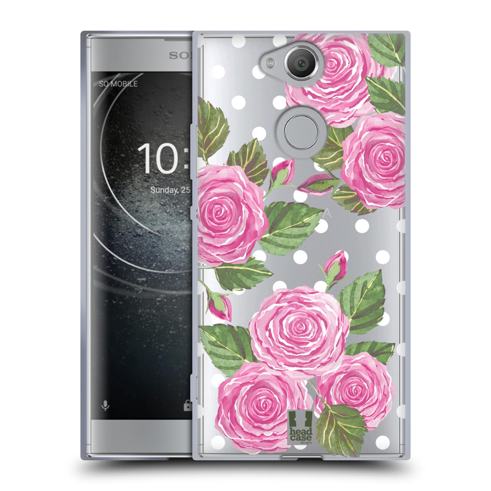 Silikonové pouzdro na mobil Sony Xperia XA2 - Head Case - Hezoučké růžičky - průhledné
