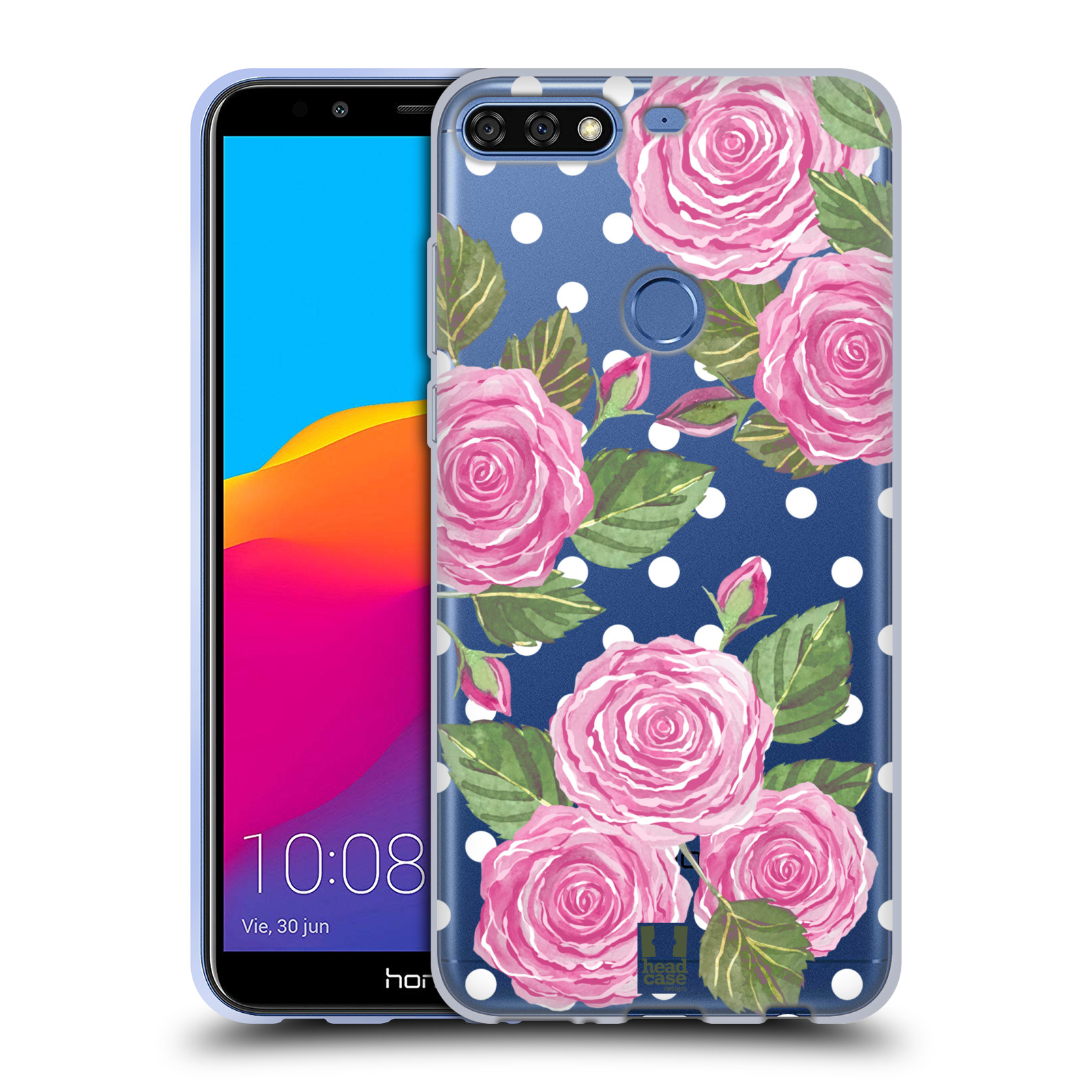 Silikonové pouzdro na mobil Huawei Y7 Prime (2018) - Head Case - Hezoučké růžičky - průhledné