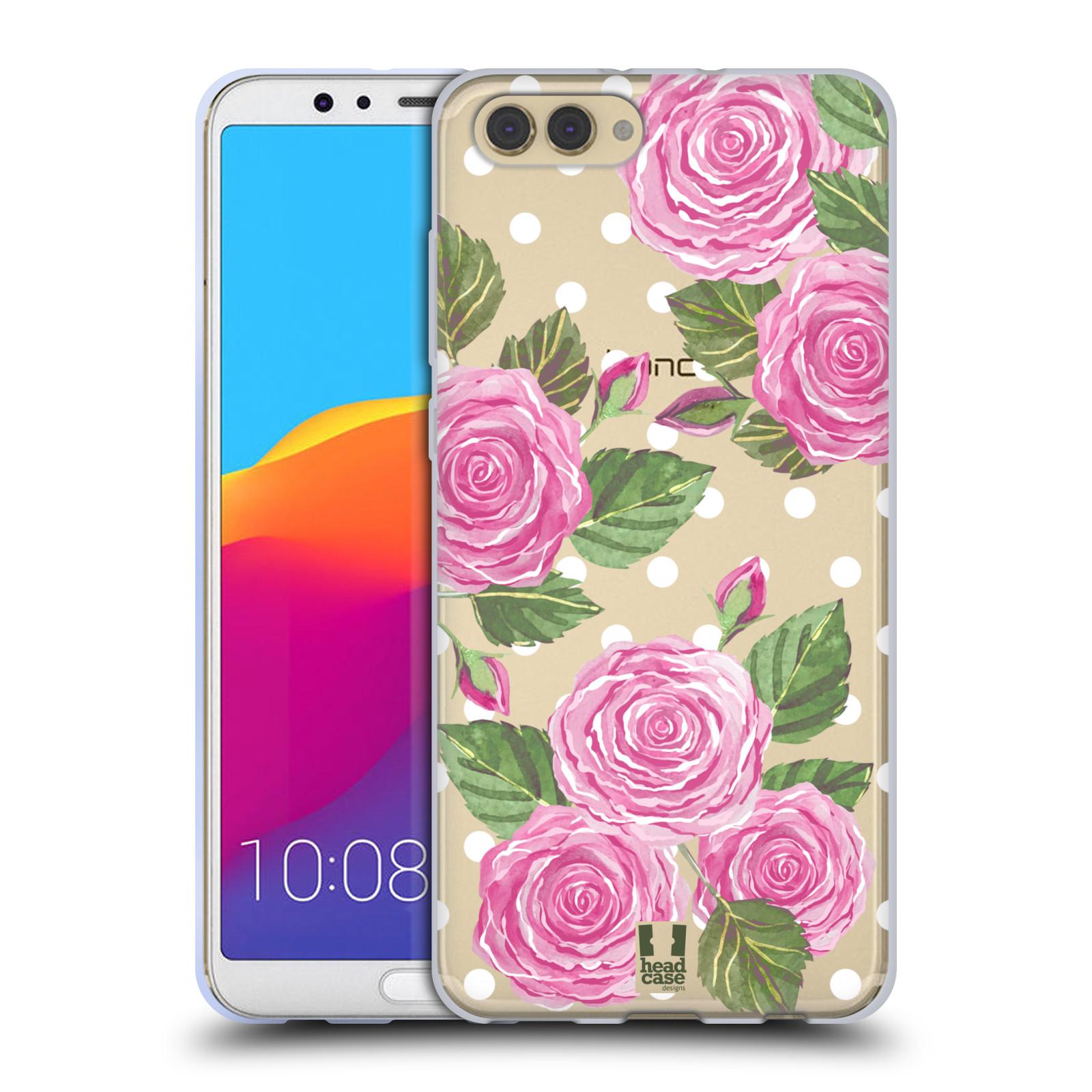 Silikonové pouzdro na mobil Honor View 10 - Head Case - Hezoučké růžičky - průhledné