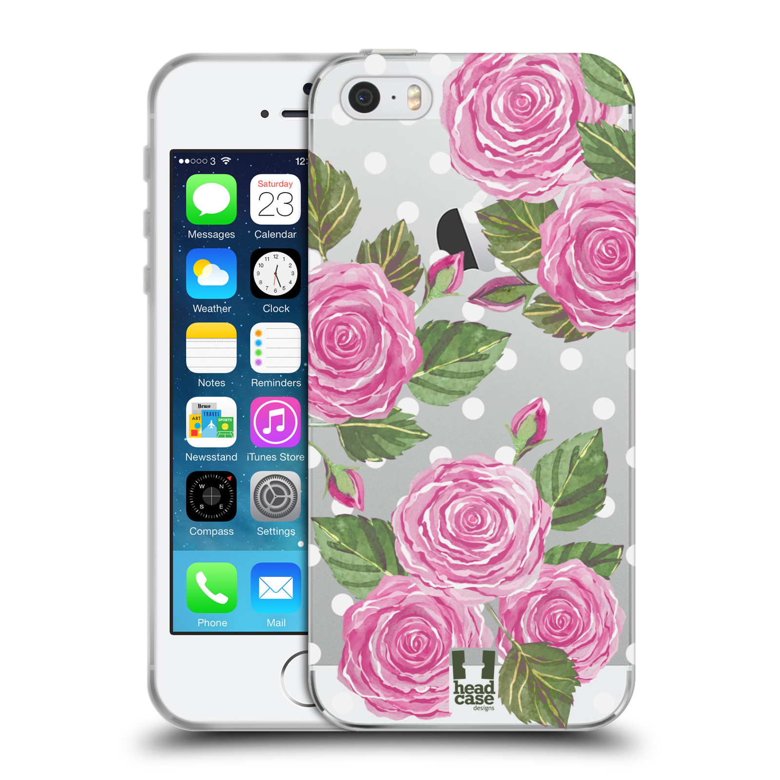 Silikonové pouzdro na mobil Apple iPhone 5, 5S, SE - Head Case - Hezoučké růžičky - průhledné