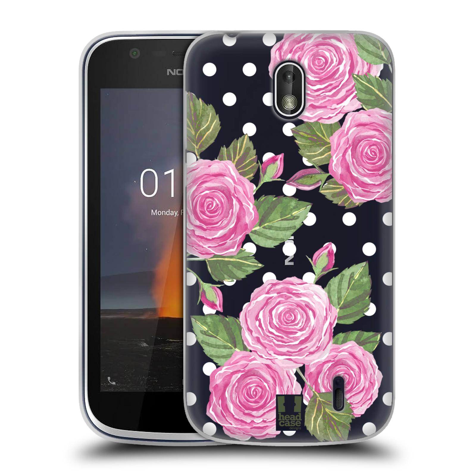 Silikonové pouzdro na mobil Nokia 1 - Head Case - Hezoučké růžičky - průhledné