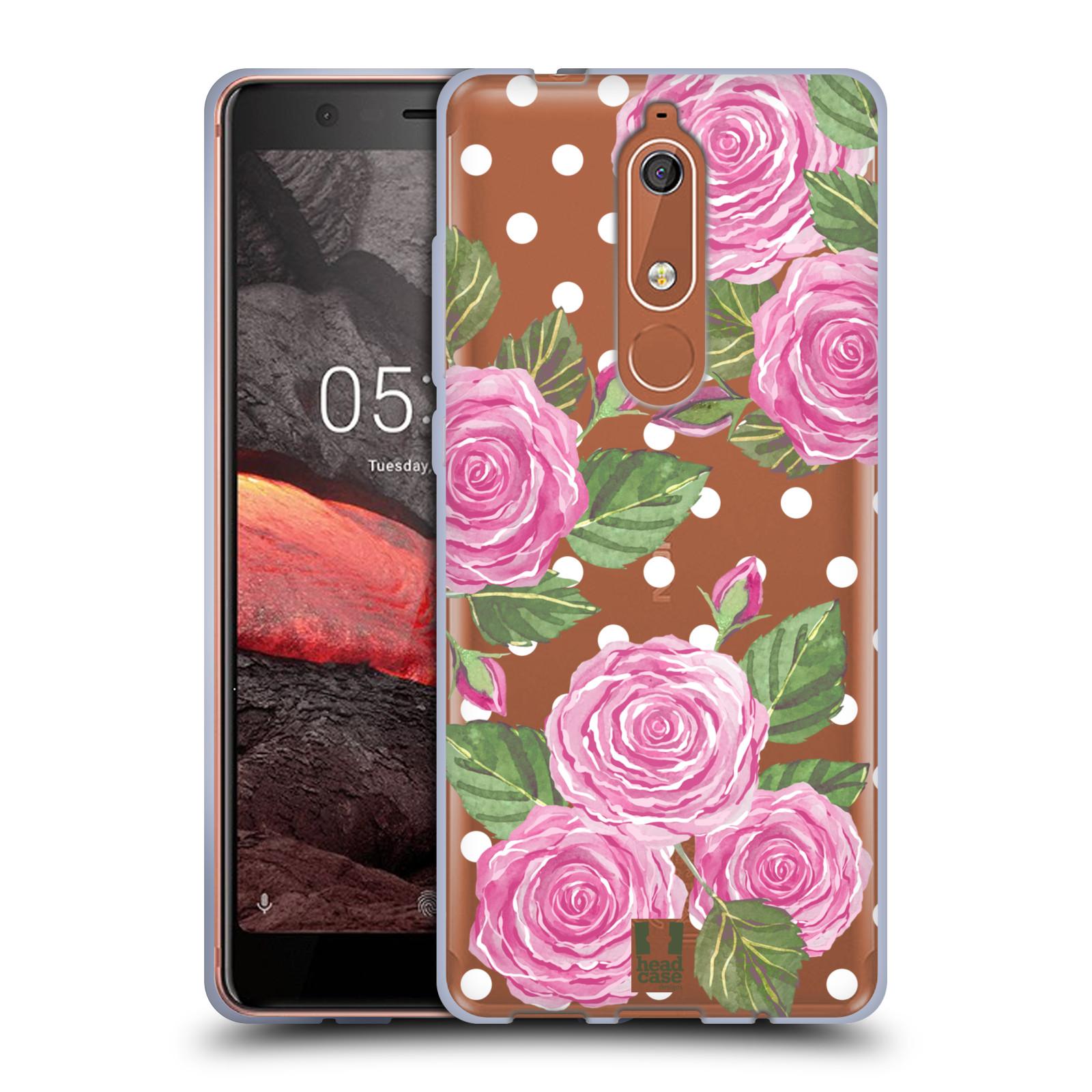 Silikonové pouzdro na mobil Nokia 5.1 - Head Case - Hezoučké růžičky - průhledné