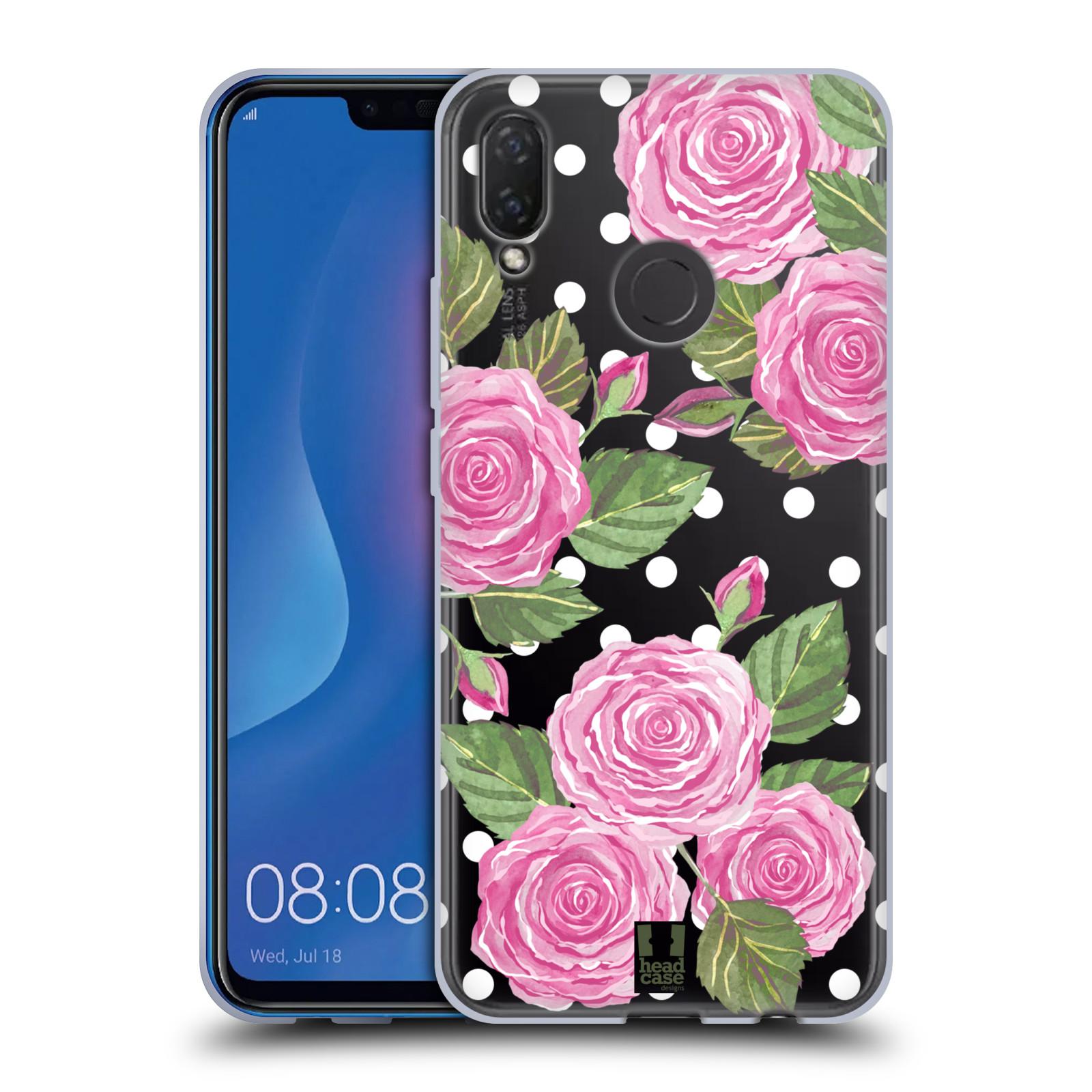 Silikonové pouzdro na mobil Huawei Nova 3i - Head Case - Hezoučké růžičky - průhledné