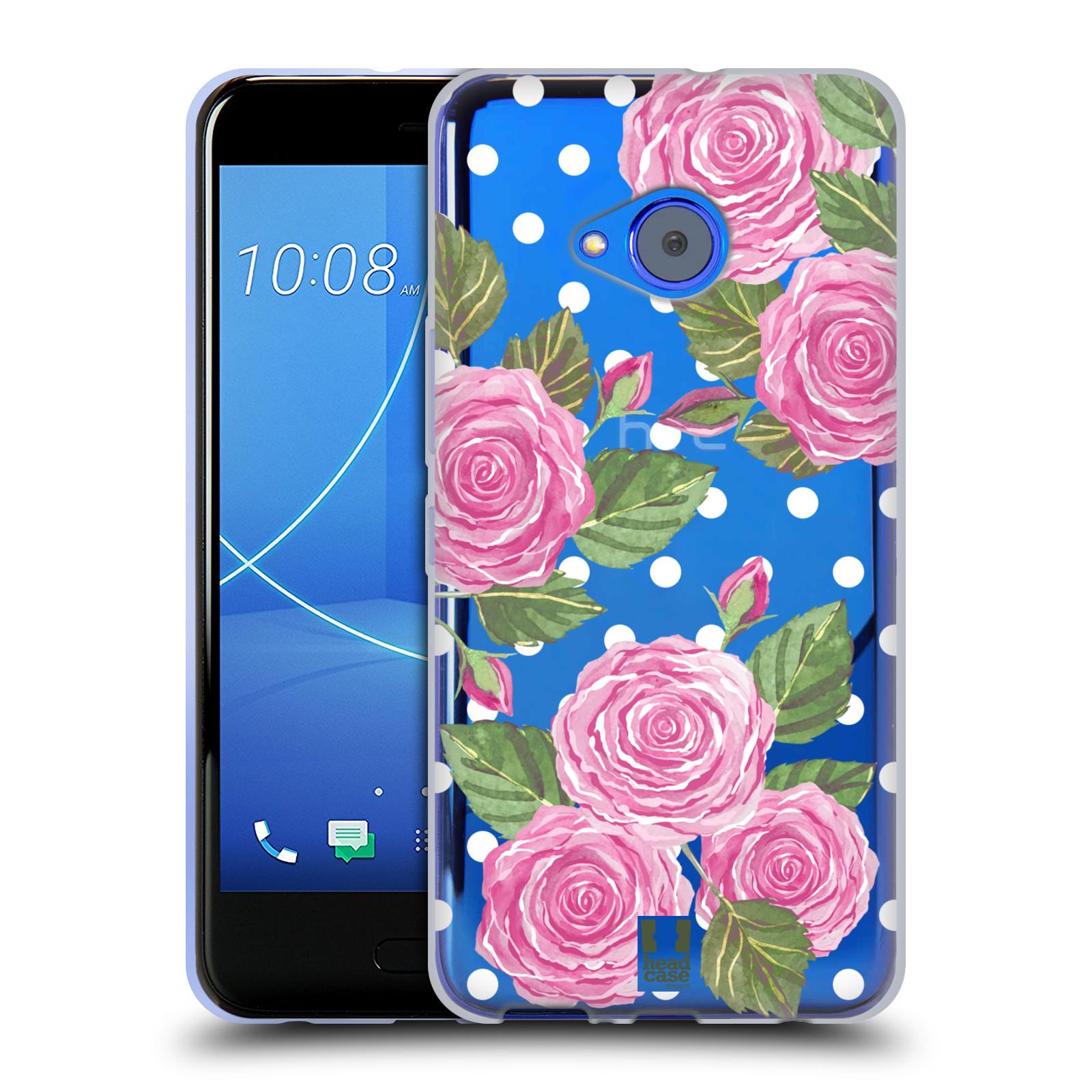 Silikonové pouzdro na mobil HTC U11 Life - Head Case - Hezoučké růžičky - průhledné