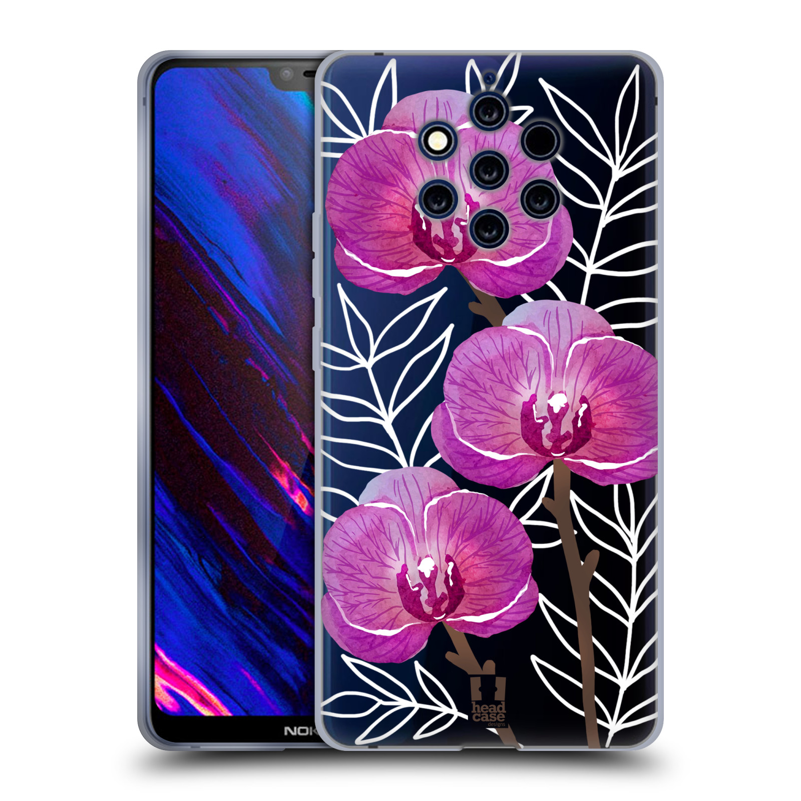 Silikonové pouzdro na mobil Nokia 9 PureView - Head Case - Hezoučké kvítky - průhledné