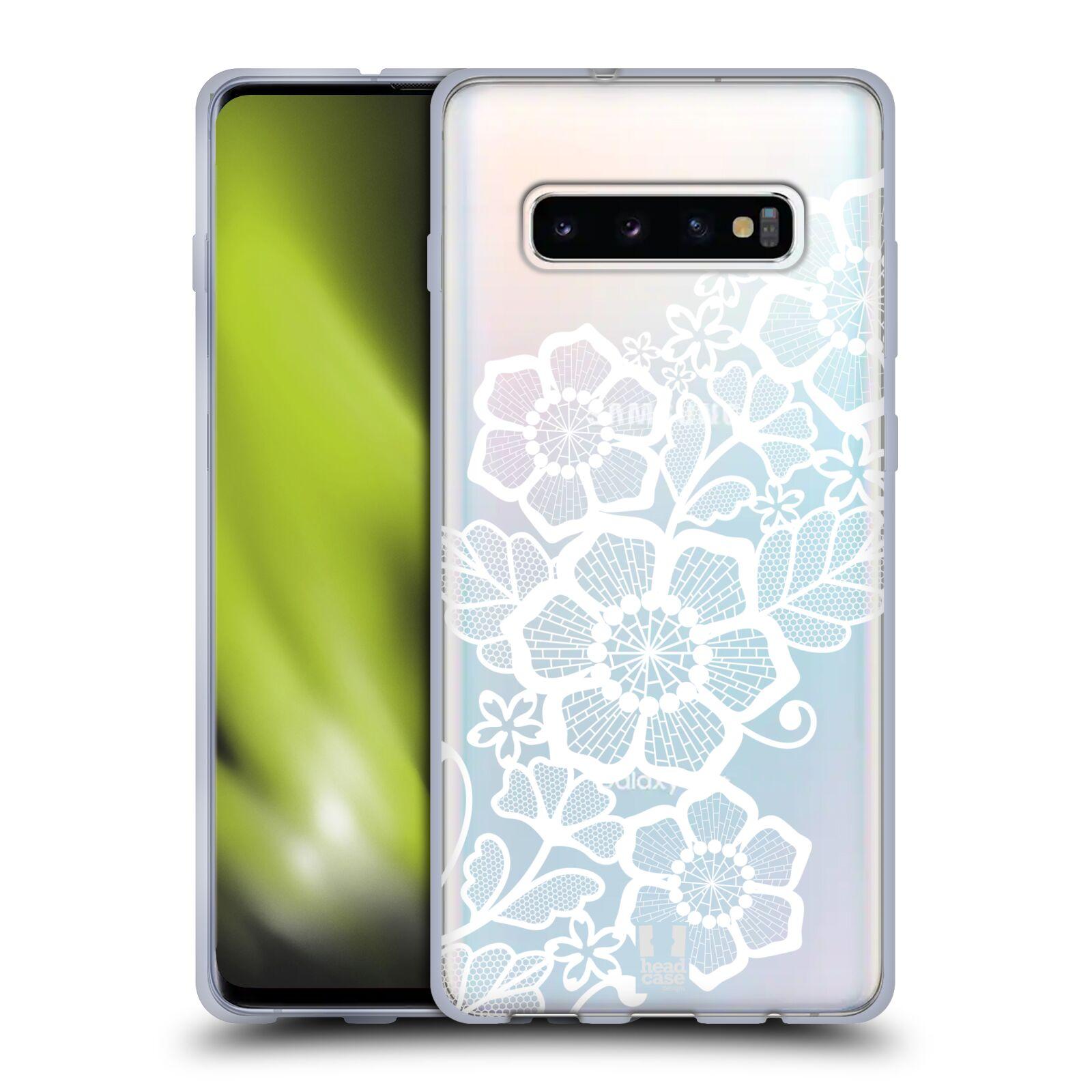 Silikonové pouzdro na mobil Samsung Galaxy S10 Plus - Head Case - Bílé krajkové květy