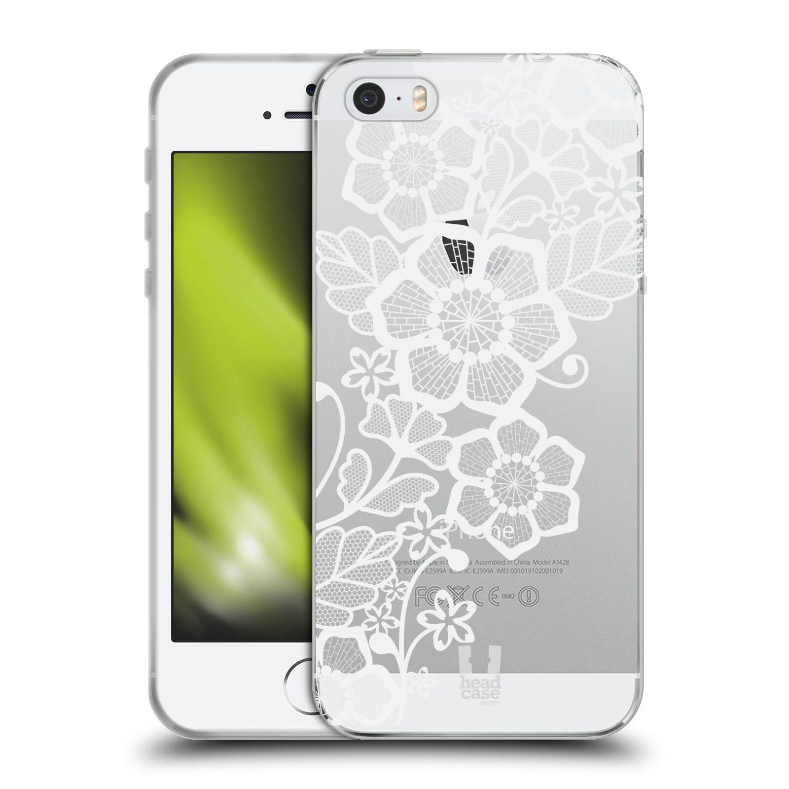 Silikonové pouzdro na mobil Apple iPhone 5, 5S, SE - Head Case - Bílé krajkové květy