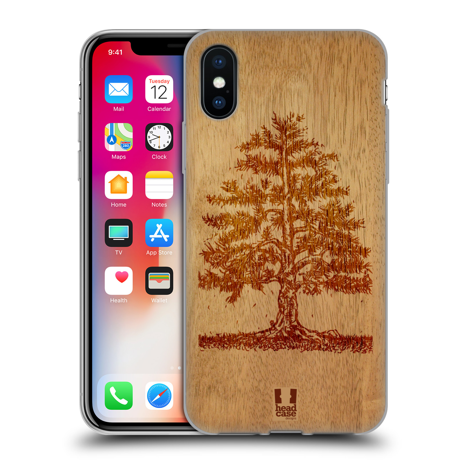 Silikonové pouzdro na mobil Apple iPhone XS - Head Case - WOODART TREE