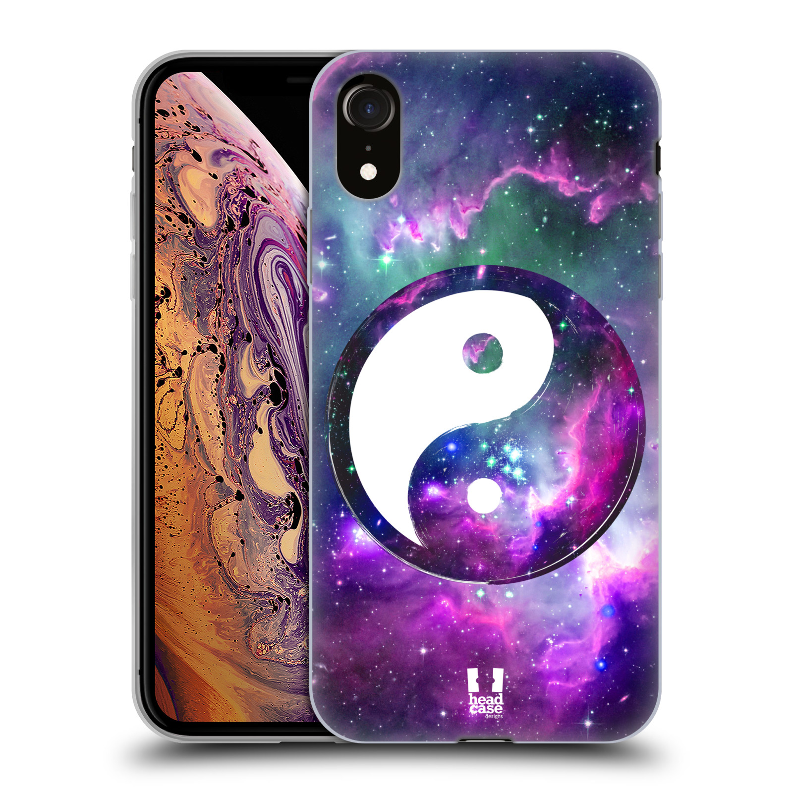 Silikonové pouzdro na mobil Apple iPhone XR - Head Case - YIn a Yang PURPLE